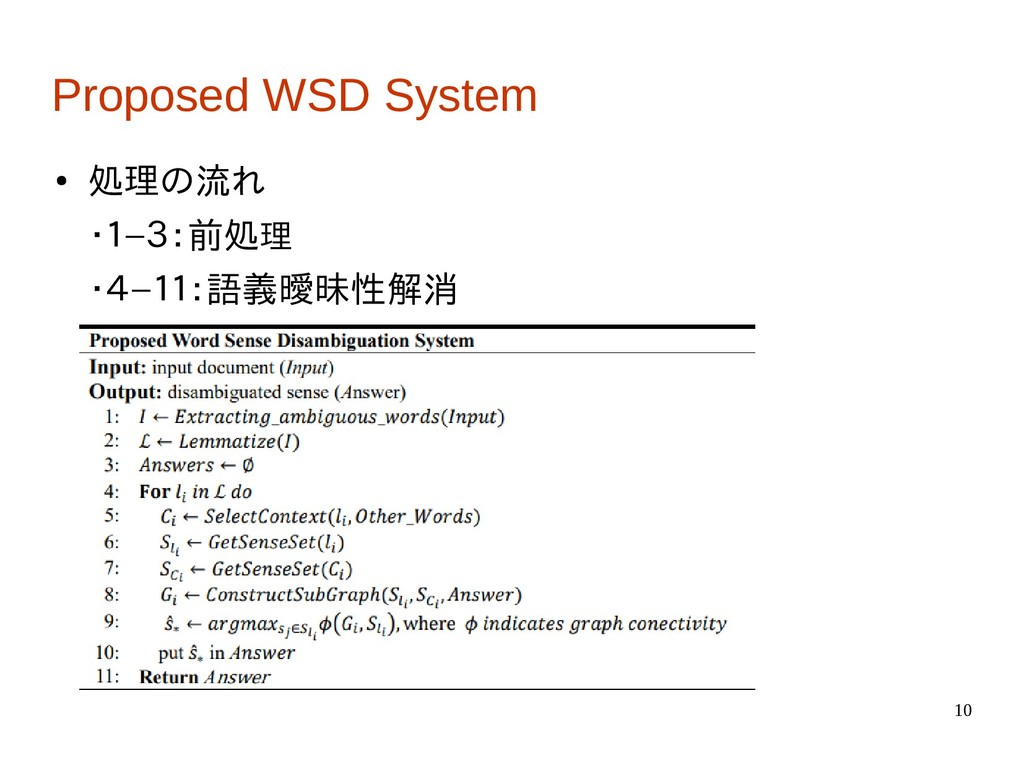 10 Proposed WSD System ● 処理の流れ ・1−3:前処理 ・4−11:語...