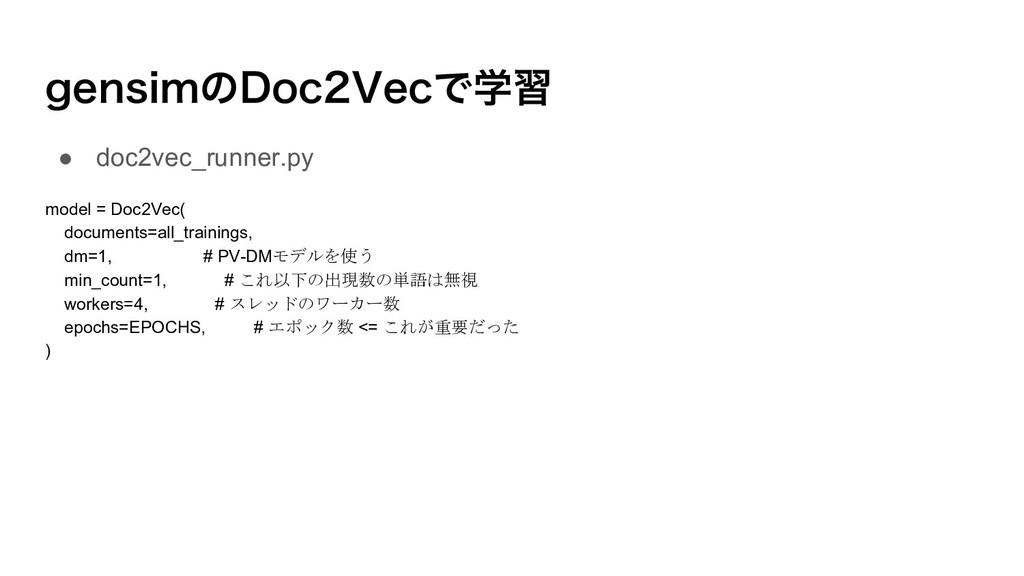 HFOTJNͷ%PD7FDͰֶश ● doc2vec_runner.py model = D...