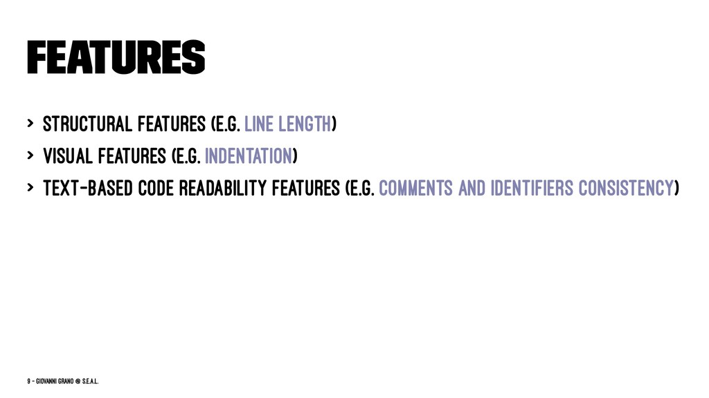 Features > Structural Features (e.g. line lengt...