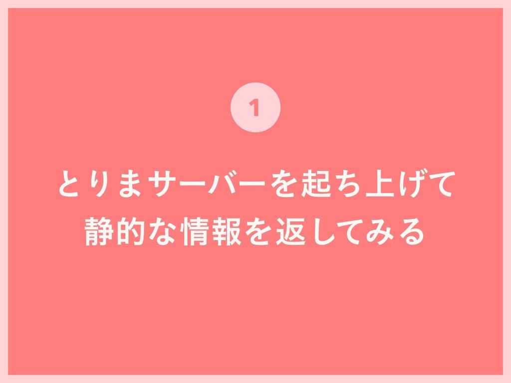 ͱΓ·αʔόʔΛى্ͪ͛ͯ ੩తͳใΛฦͯ͠ΈΔ 1