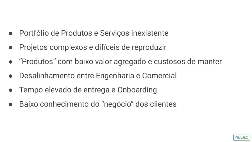 ● Portfólio de Produtos e Serviços inexistente ...