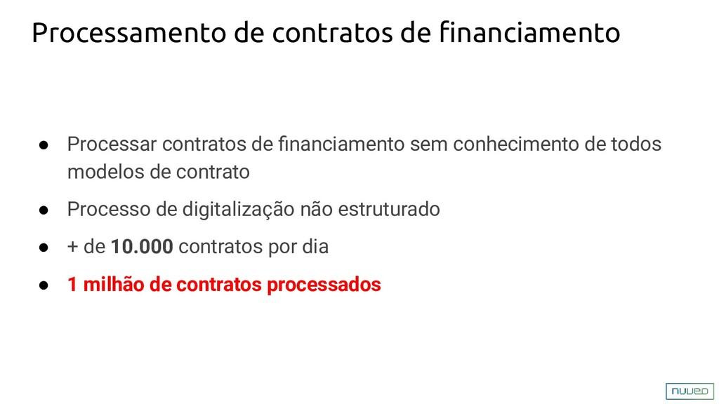 Processamento de contratos de financiamento ● Pr...