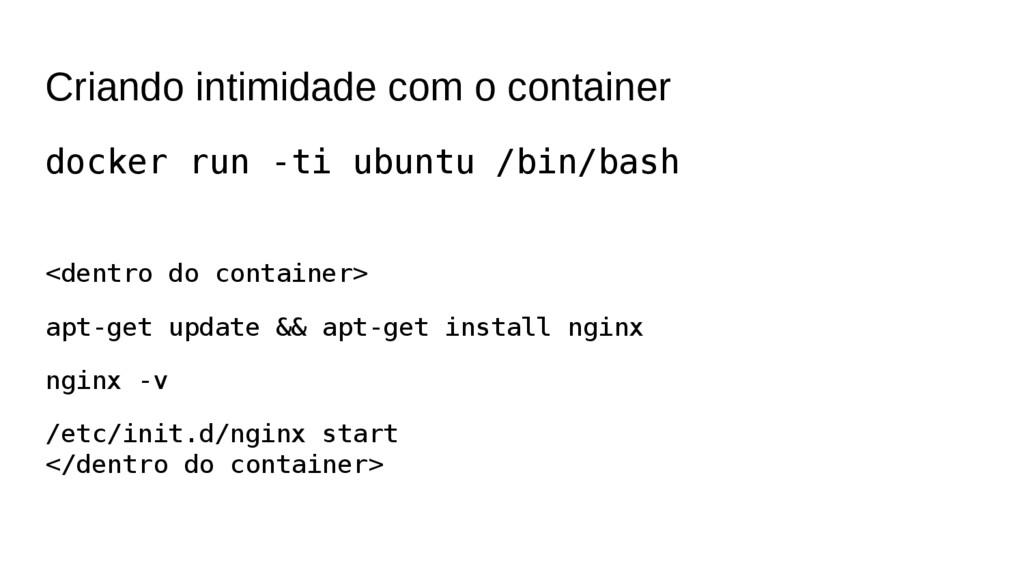 Criando intimidade com o container docker run -...