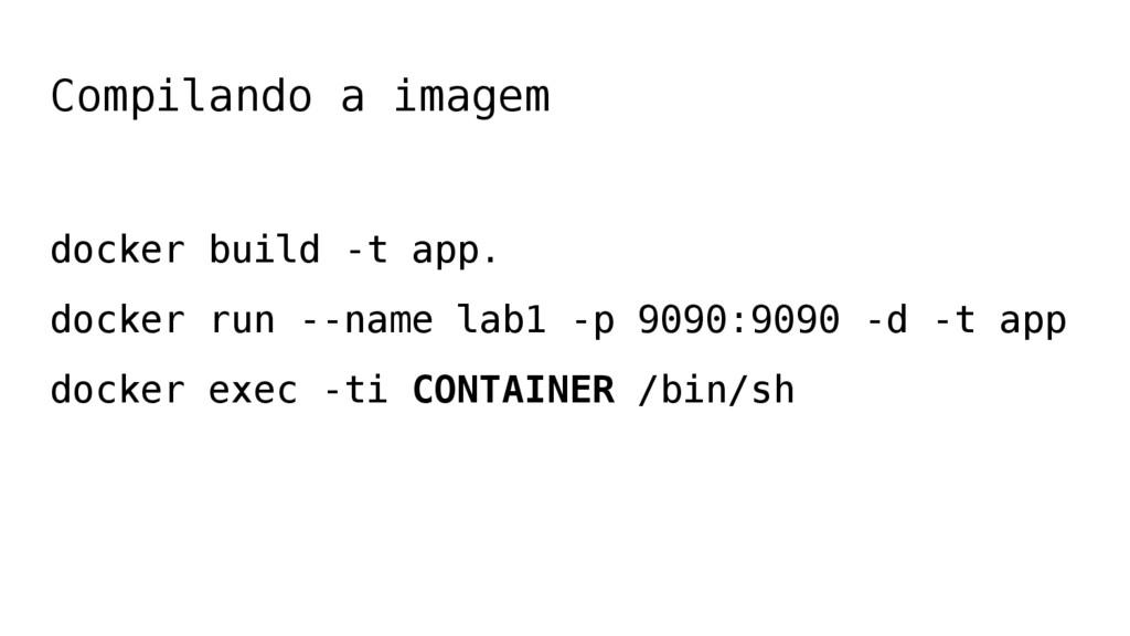 Compilando a imagem docker build -t app. docker...