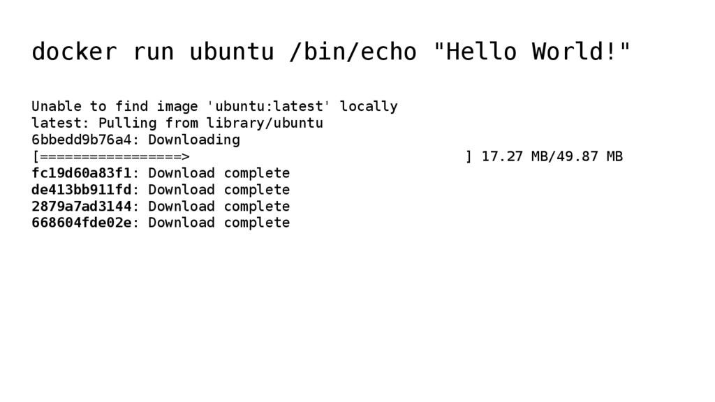 """docker run ubuntu /bin/echo """"Hello World!"""" Unab..."""
