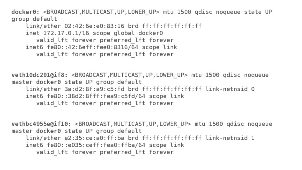 docker0: <BROADCAST,MULTICAST,UP,LOWER_UP> mtu ...