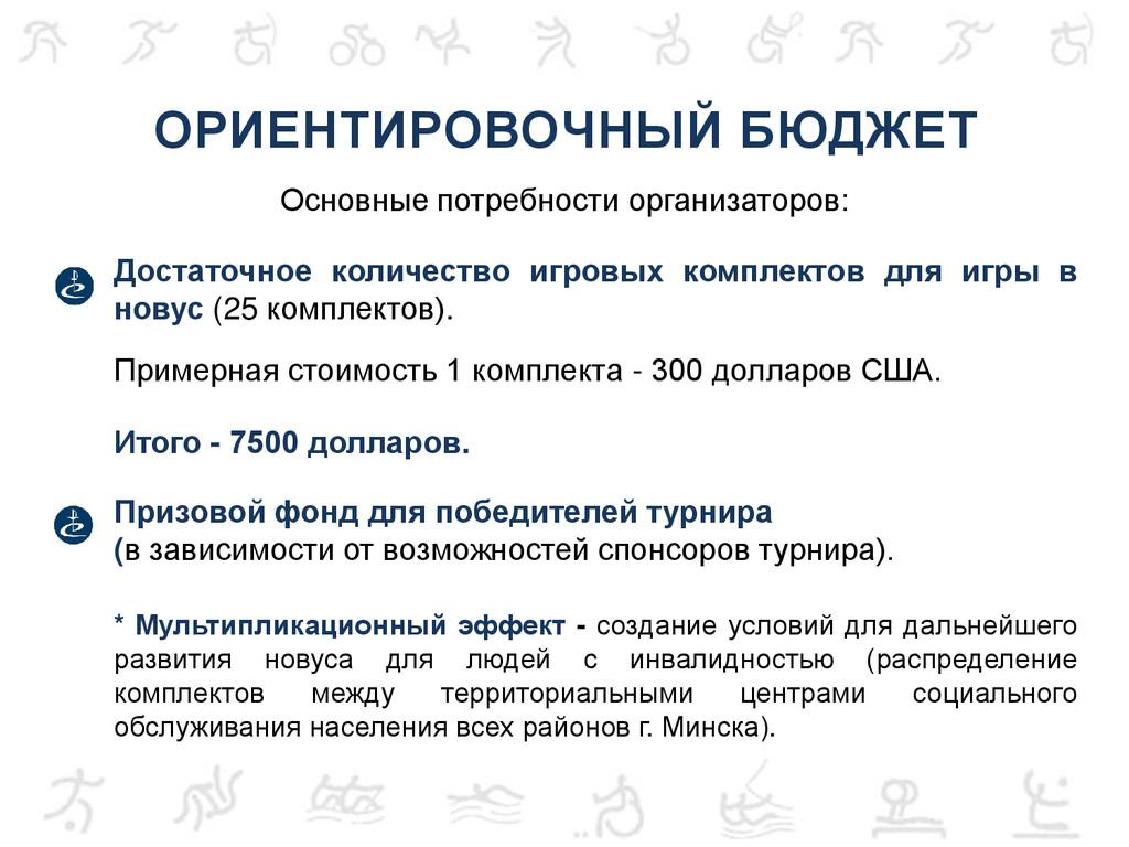 ОРИЕНТИРОВОЧНЫЙ БЮДЖЕТ Основные потребности орг...