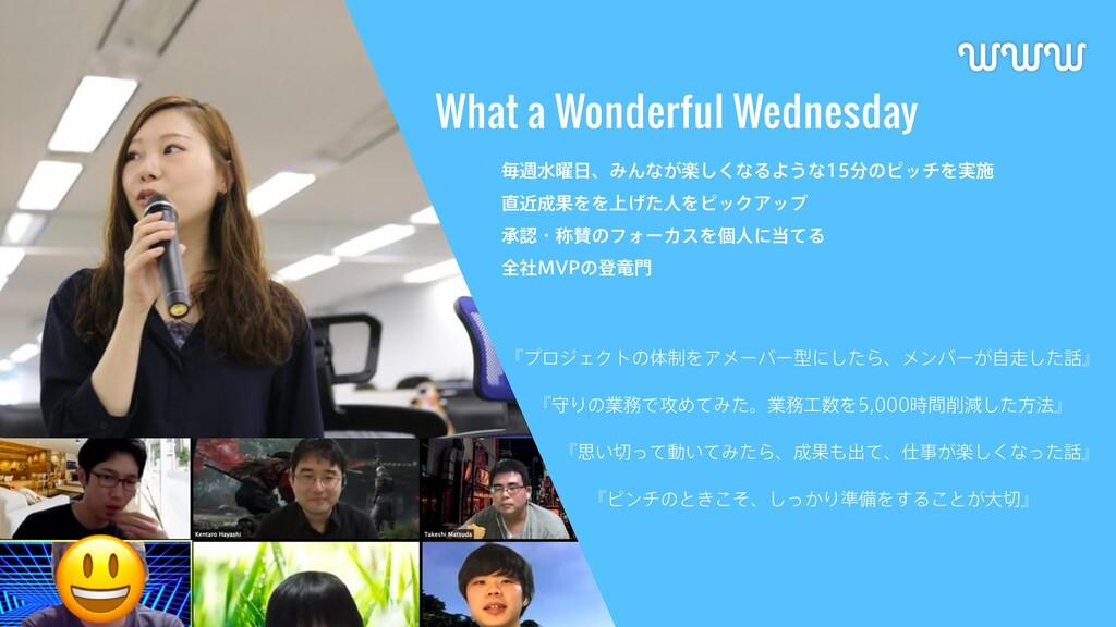 What a Wonderful Wednesday WWW ʰϓϩδΣΫτͷମ੍ΛΞϝʔόʔ...
