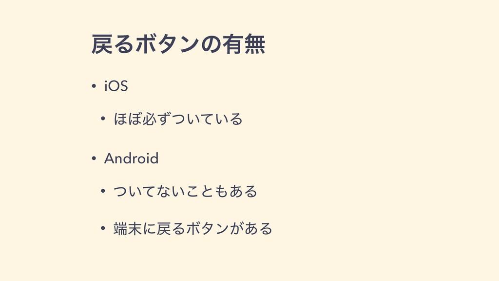 ΔϘλϯͷ༗ແ • iOS • ΄΅ඞ͍͍ͣͭͯΔ • Android • ͍ͭͯͳ͍͜ͱ...