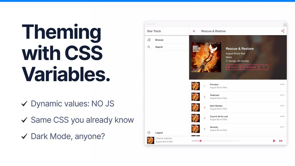 Theming with CSS Variables. Dynamic values: NO ...