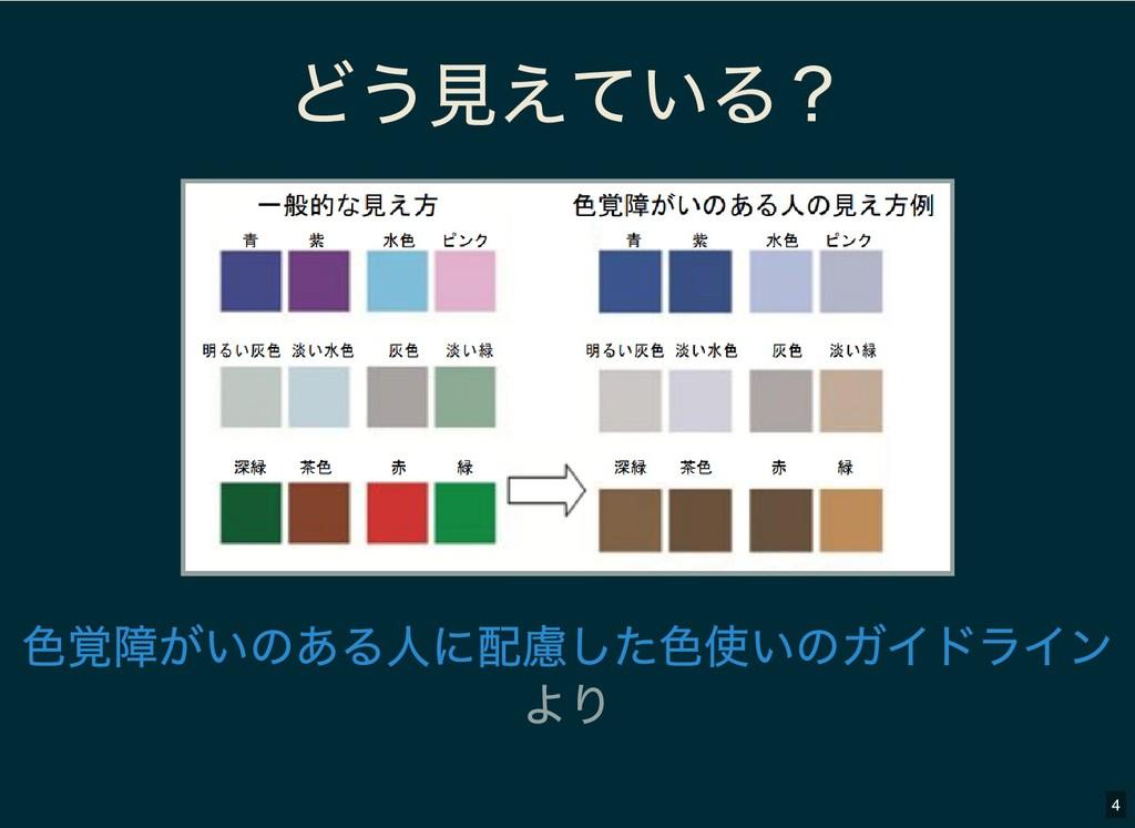 どう見えている? どう見えている? より 色覚障がいのある人に配慮した色使いのガイドライン 4