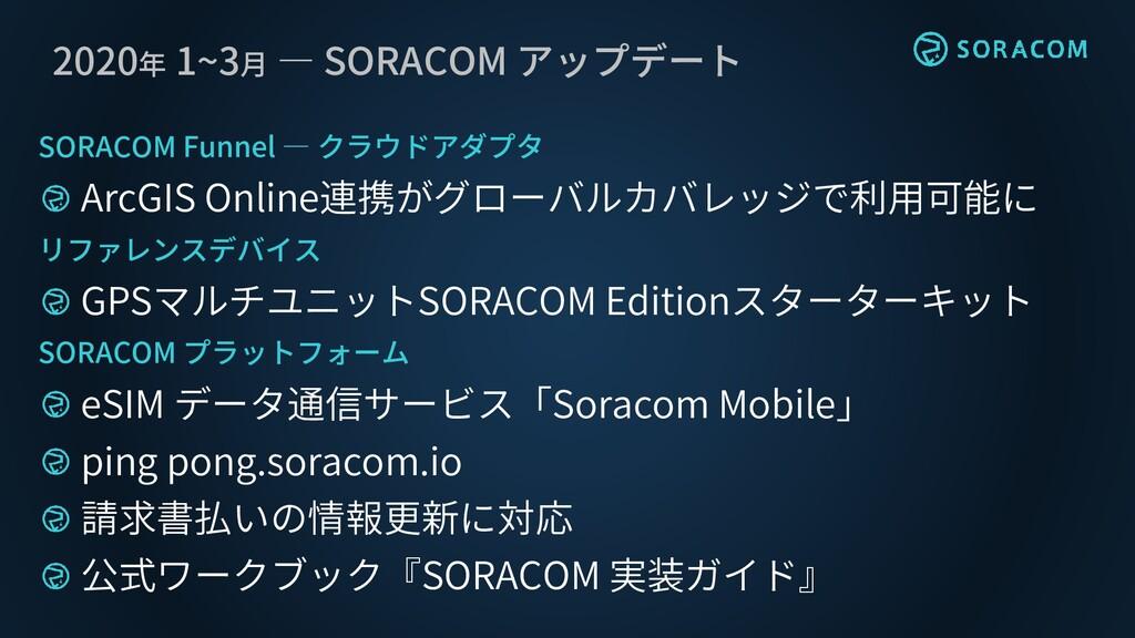 2020年 1~3月 ― SORACOM アップデート SORACOM Funnel ― クラ...