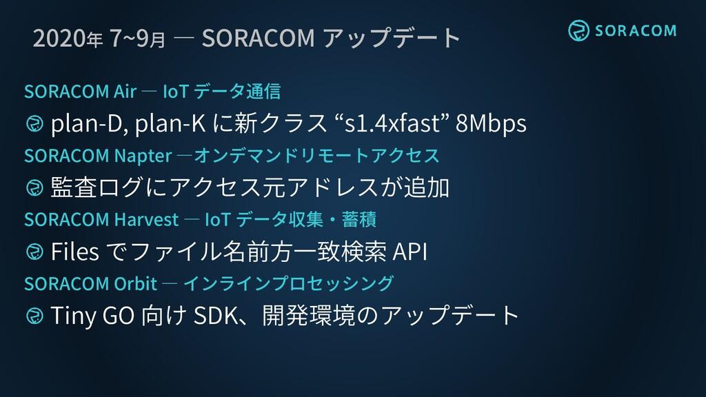 2020年 7~9月 ― SORACOM アップデート SORACOM Air ― IoT デ...