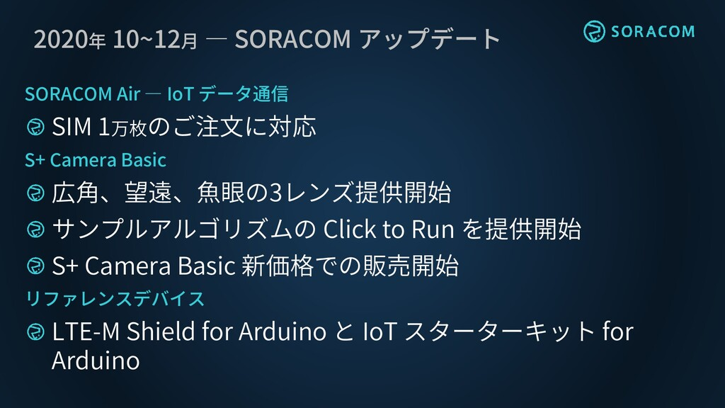 2020年 10~12月 ― SORACOM アップデート SORACOM Air ― IoT...