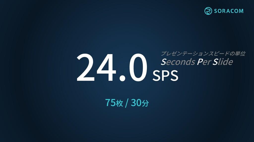 24.0 SPS プレゼンテーションスピードの単位 Seconds Per Slide 75枚...