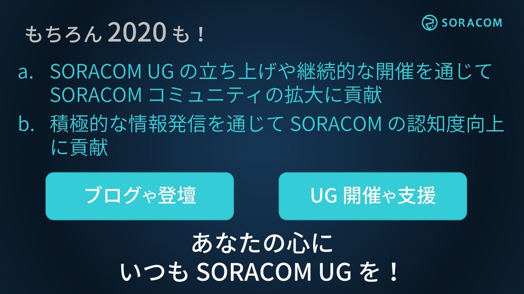 もちろん 2020 も! a. SORACOM UG の立ち上げや継続的な開催を通じて SOR...
