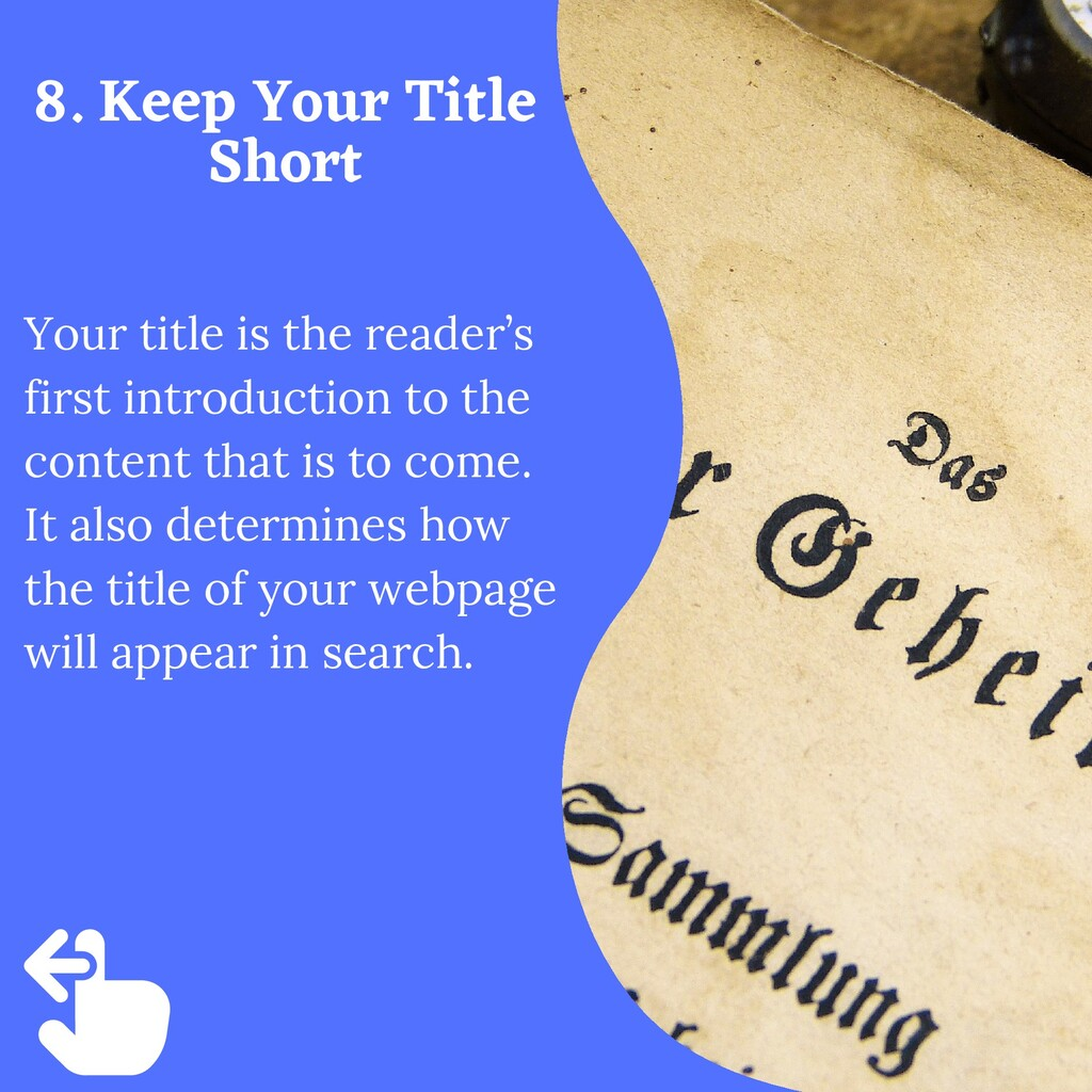 Your title is the reader's first introduction t...