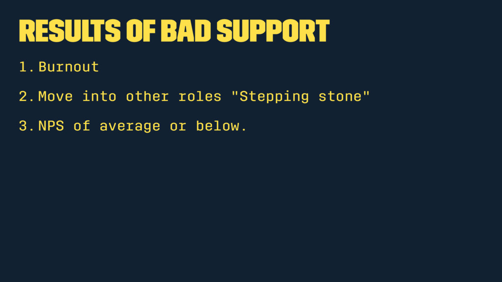 Results of bad support 1.Burnout 2.Move into ot...