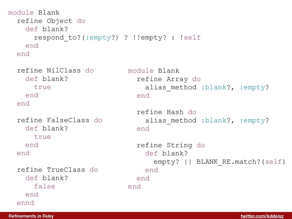 twitter.com/kddeisz Refinements in Ruby module B...