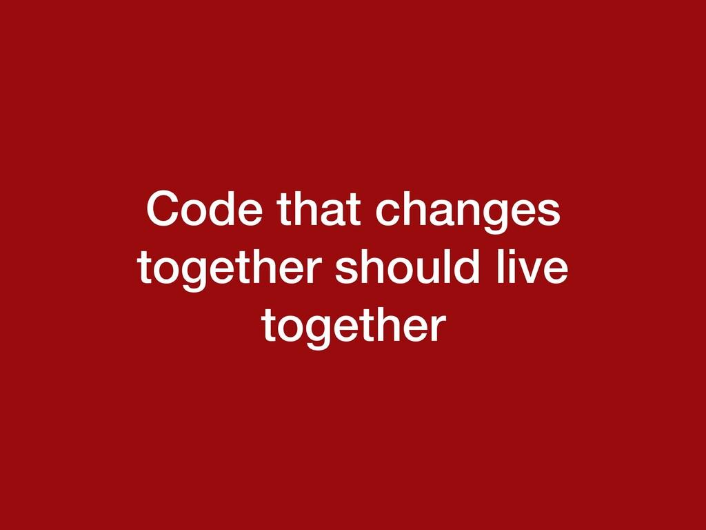 Code that changes together should live together