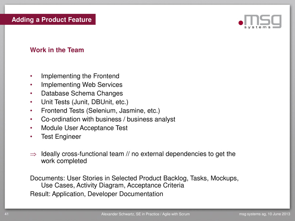Adding a Product Feature Work in the Team • Imp...