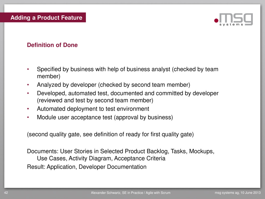 Adding a Product Feature Definition of Done • S...
