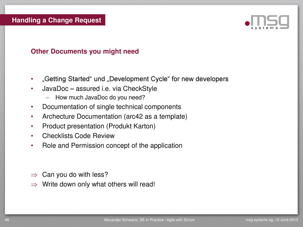 Handling a Change Request Other Documents you m...