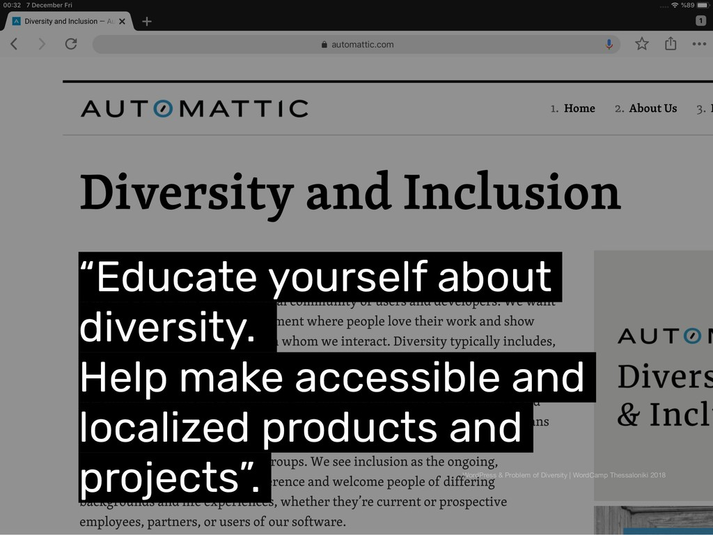 """Educate yourself about diversity. Help make ac..."