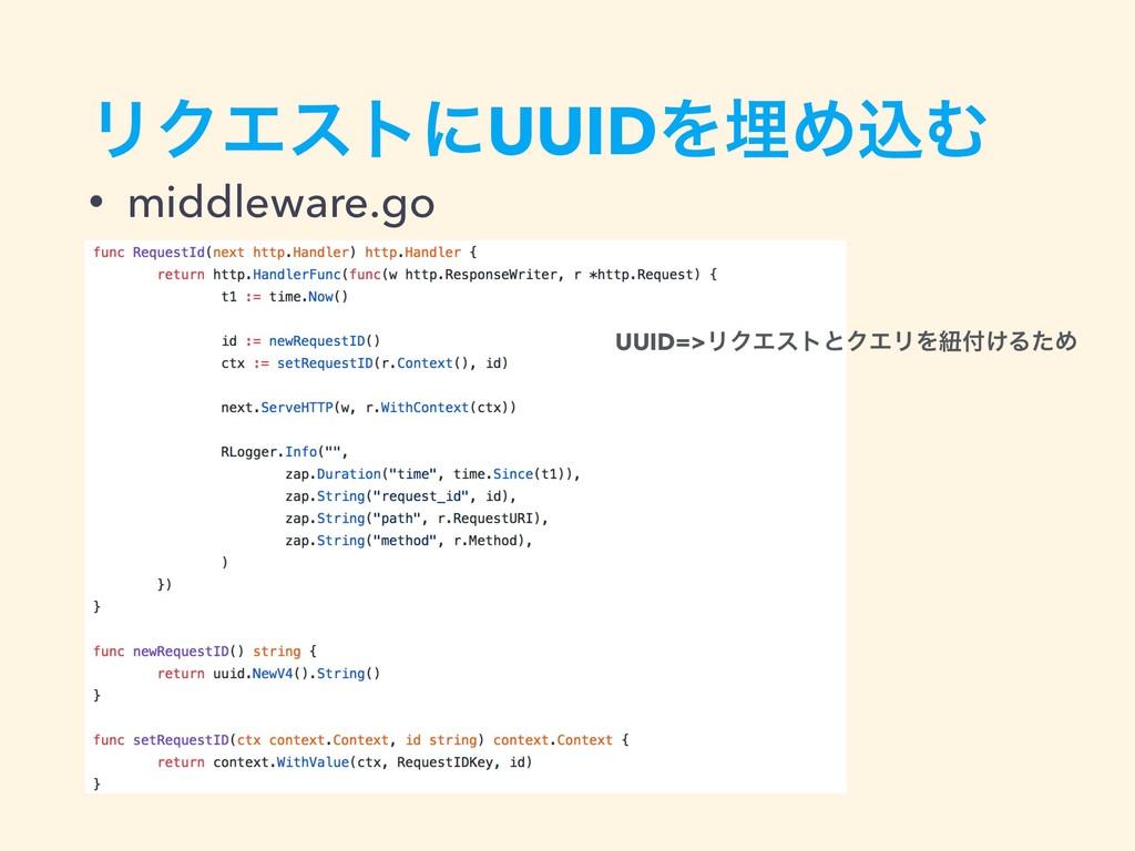 ϦΫΤετʹUUIDΛຒΊࠐΉ • middleware.go UUID=>ϦΫΤετͱΫΤϦ...