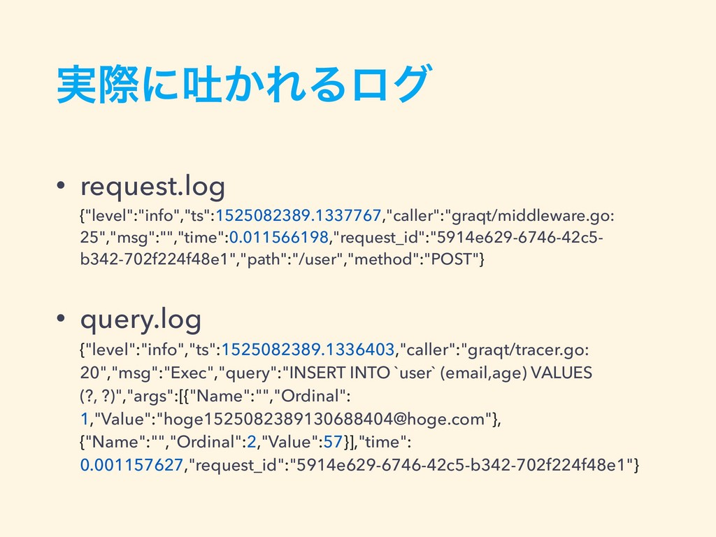 "࣮ࡍʹు͔ΕΔϩά • request.log {""level"":""info"",""ts"":1..."