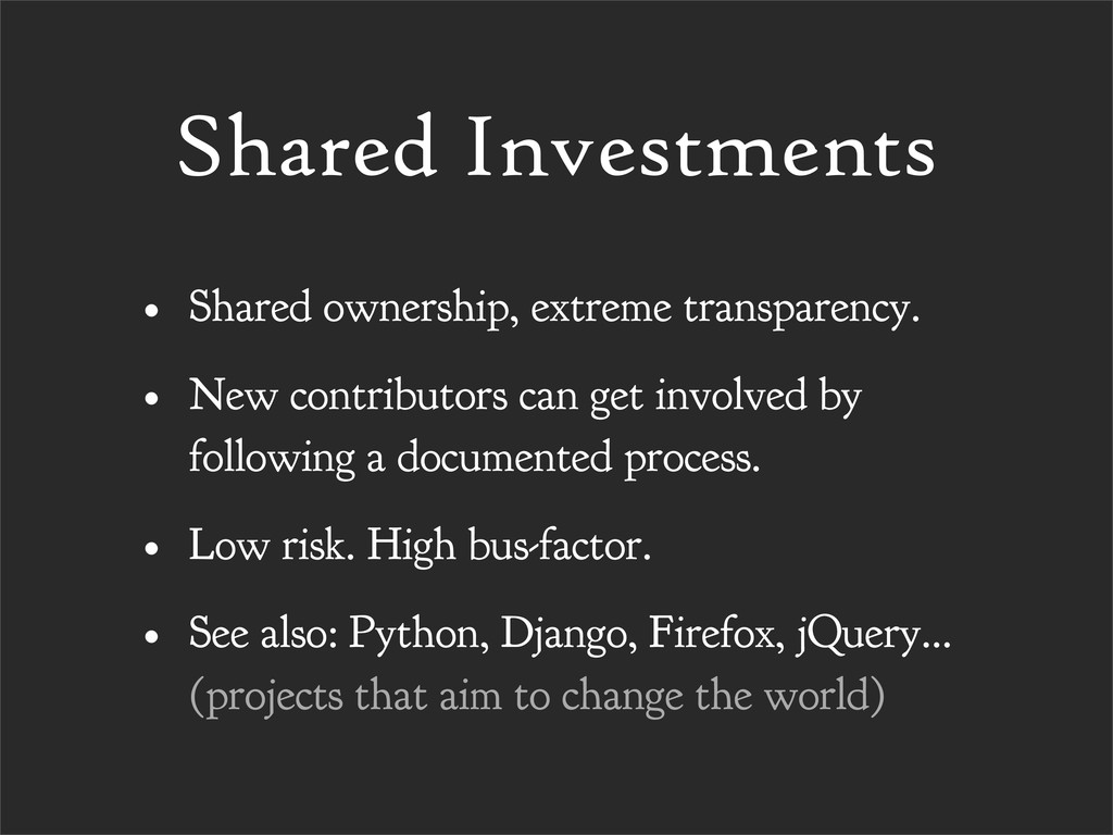 Shared Investments • Shared ownership, extreme ...