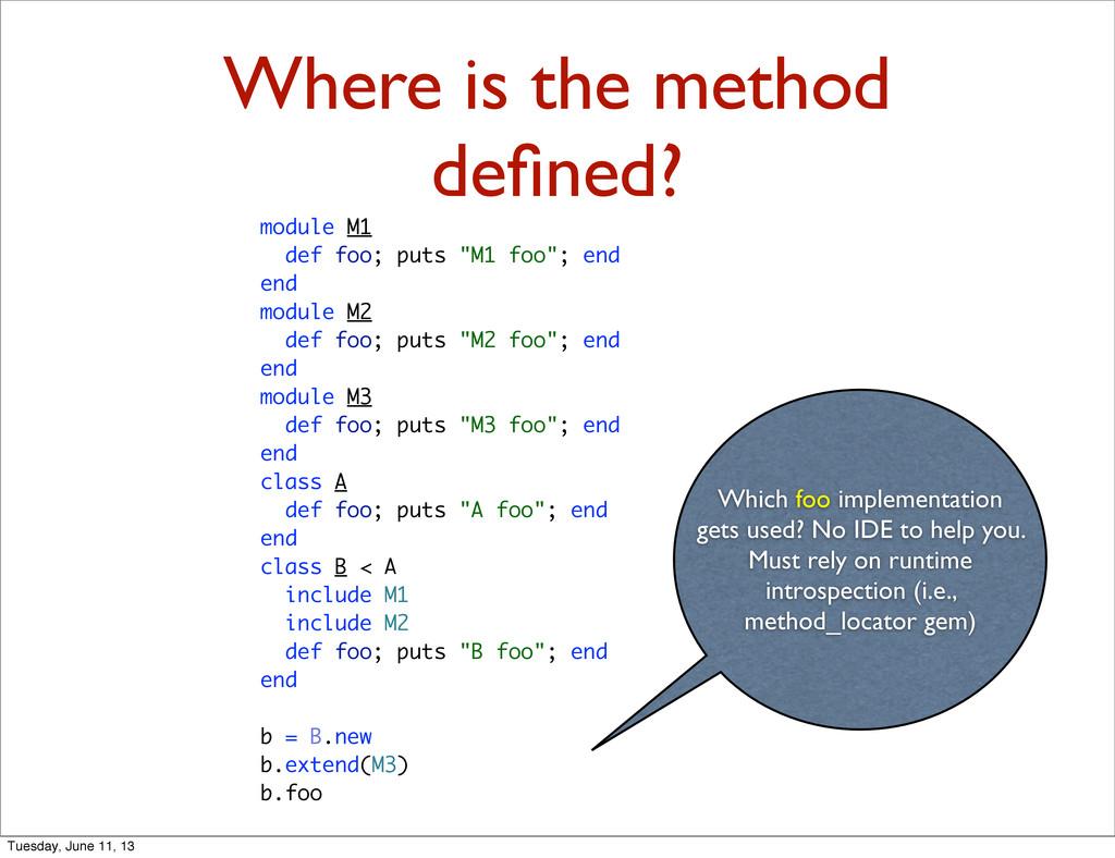 Where is the method defined? module M1 def foo; ...