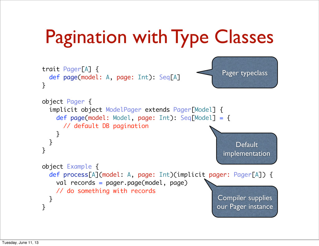 Pagination with Type Classes trait Pager[A] { d...