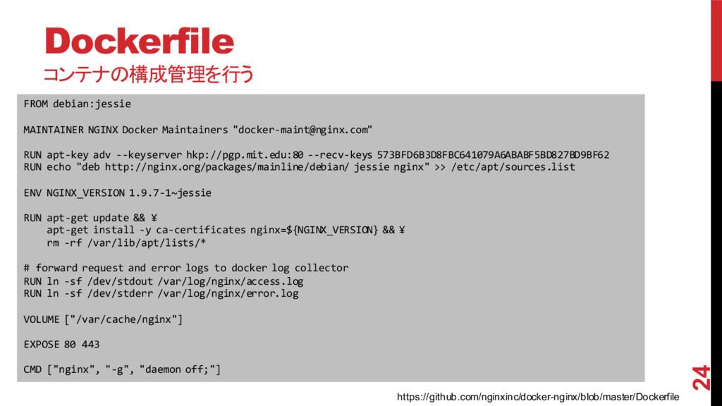 Dockerfile コンテナの構成管理を行う 2015/11/30 24 FROM deb...