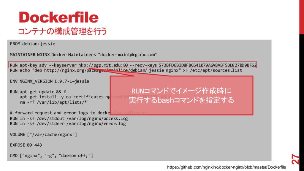 Dockerfile コンテナの構成管理を行う 27 FROM debian:jessie ...