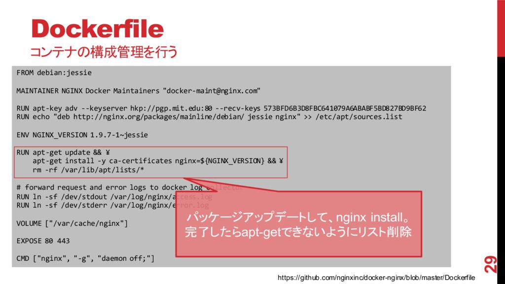 Dockerfile コンテナの構成管理を行う 2015/11/30 29 FROM deb...