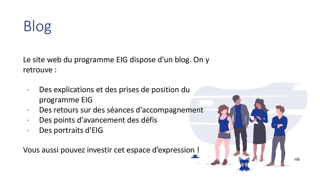 Le site web du programme EIG dispose d'un blog....