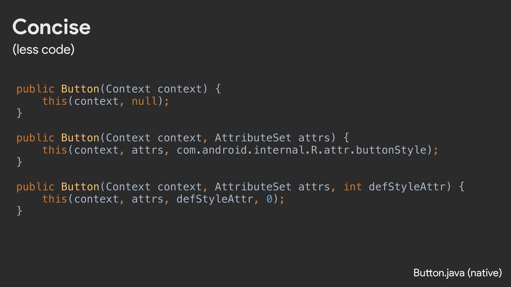 Concise (less code) public Button(Context conte...
