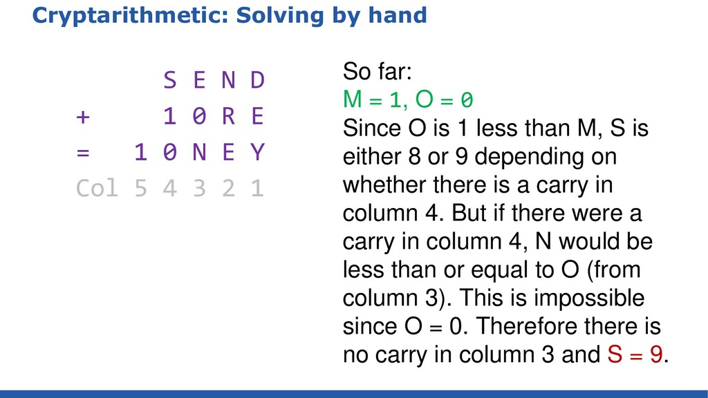 Cryptarithmetic: Solving by hand S E N D + 1 0 ...
