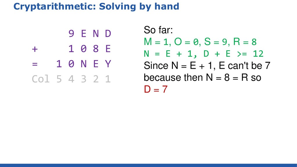 Cryptarithmetic: Solving by hand 9 E N D + 1 0 ...