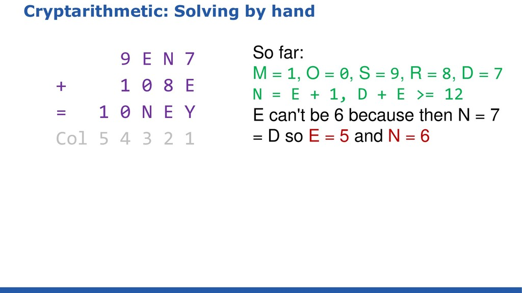 Cryptarithmetic: Solving by hand 9 E N 7 + 1 0 ...