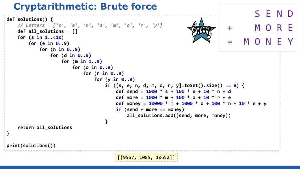Cryptarithmetic: Brute force def solutions() { ...