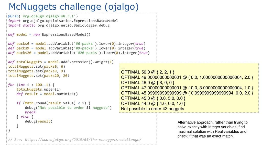 McNuggets challenge (ojalgo) @Grab('org.ojalgo:...