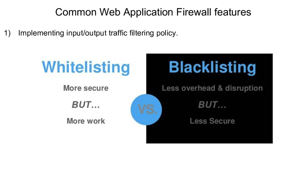 Common Web Application Firewall features 1) Imp...