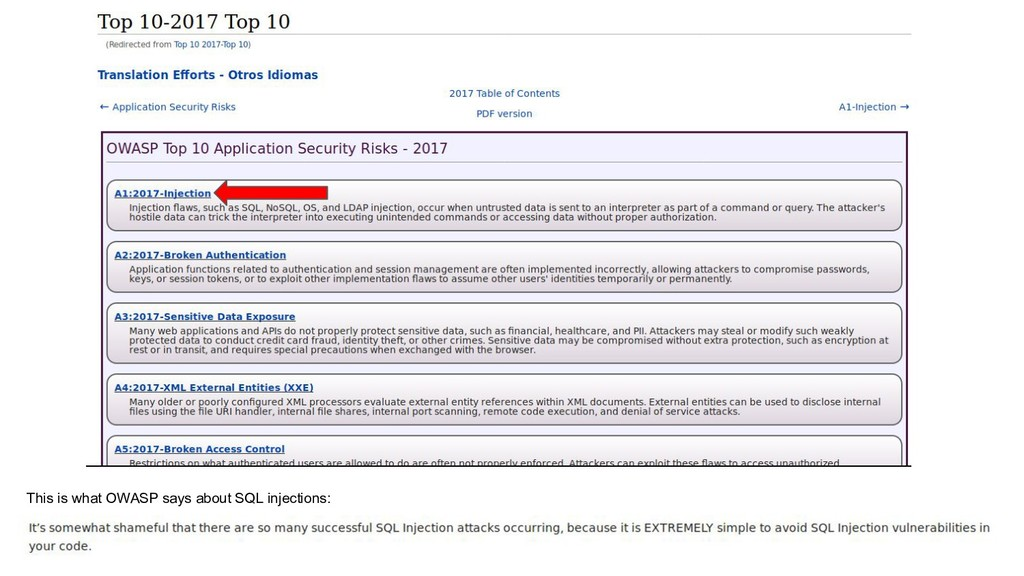 This is what OWASP says about SQL injections: