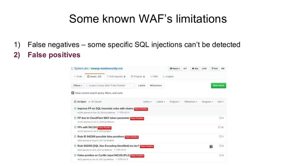 Some known WAF's limitations 1) False negatives...