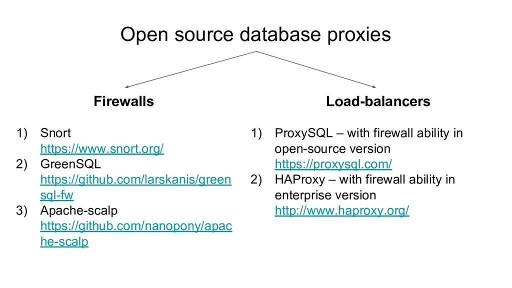 Open source database proxies Firewalls 1) Snort...