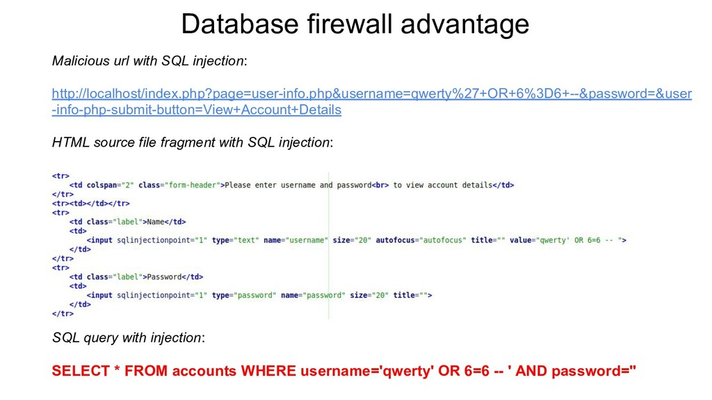 Database firewall advantage Malicious url with ...