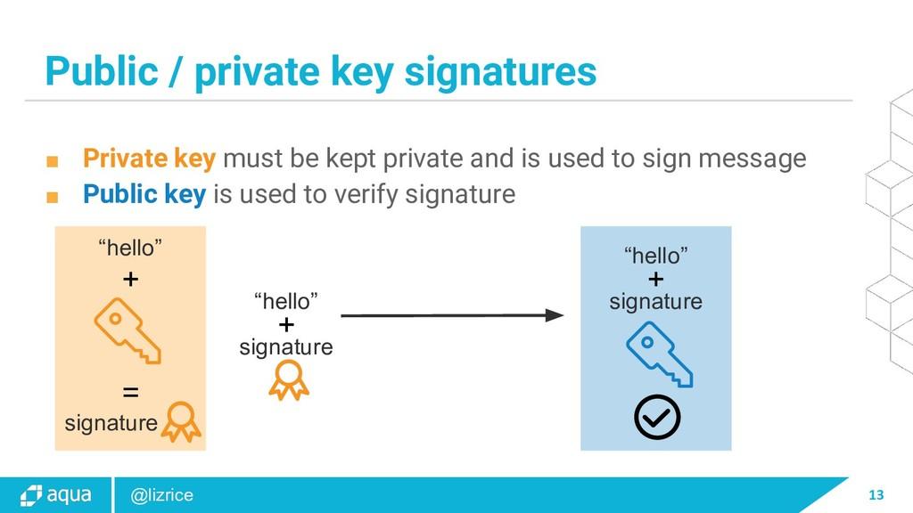 13 @lizrice Public / private key signatures ■ P...