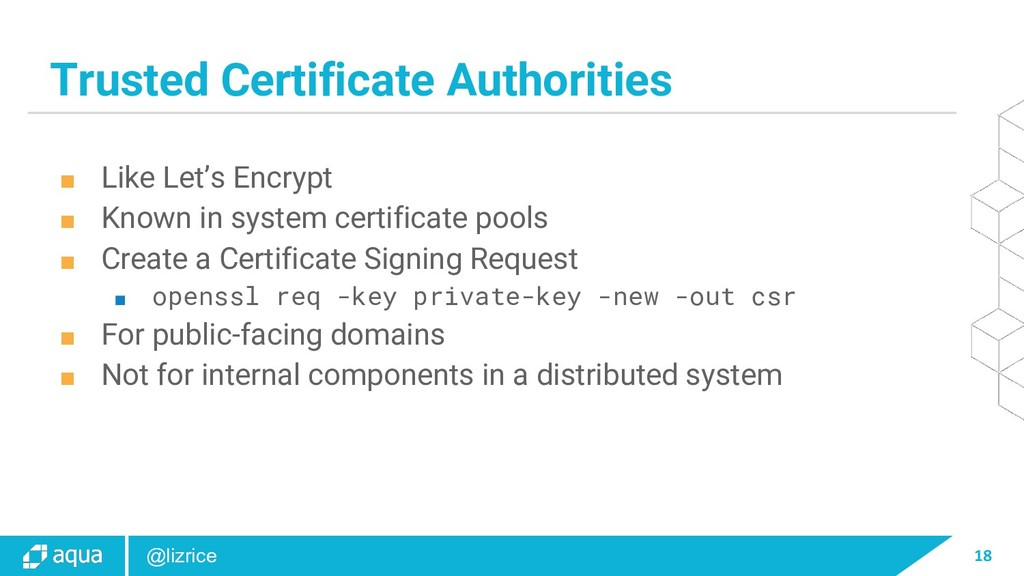 18 @lizrice Trusted Certificate Authorities ■ L...